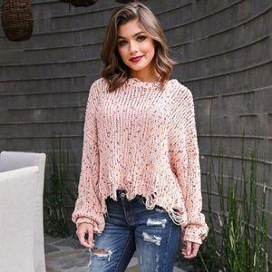NWT Confetti Cake Sweater Blush Pink S M L Cute!
